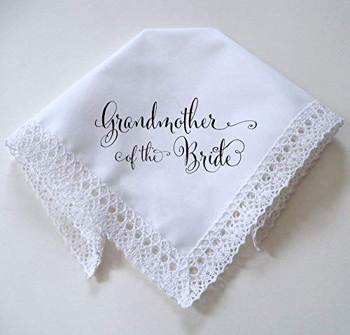 Grandmother of the Bride Lace Wedding Handkerchief, Printed with Calligraphy Script in Black
