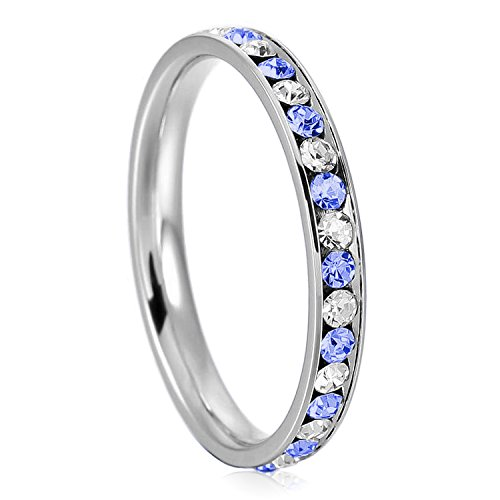 Stainless Steel Sapphire Crystal - 3mm Stainless Steel Blue Sapphire Color & White Crystal Channel Eternity Wedding Band Stackable Ring, Size 7