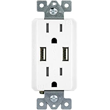 TOPGREENER TU2152A 2.1 AMP Dual USB Charger Outlet 15A Duplex Tamper Resistant Receptacle, White