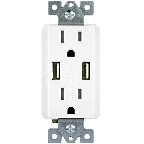 TOPGREENER TU2152A 2.1 AMP Dual USB Charger Outlet 15A Tamper Resistant Receptacle, White (High Capacity Top Side Box)