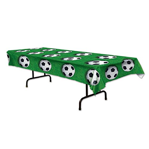 Club Pack of 12 Green, Black and White Disposable Soccer Ball Banquet Party Tablecovers 108'' by Party Central