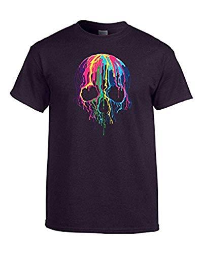 Male Sugar Skull Face Paint (Neon Skull T-Shirt Melting Dripping Paint Skull)