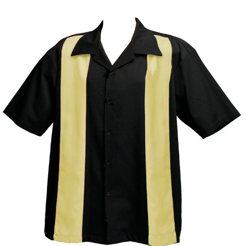 Mens-Bowling-Shirt-BIG-TALL-All-sizes-available-Black-with-Creme-Panels