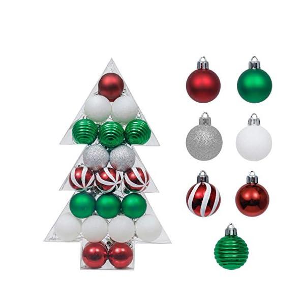 Valery Madelyn Palle di Natale 40 Pezzi 4 cm Palline di Natale, Collezione Classica Essenziale Rosso Verde e Bianco Ornamenti di Palla di Natale Infrangibili di Base per la Decorazione 1 spesavip