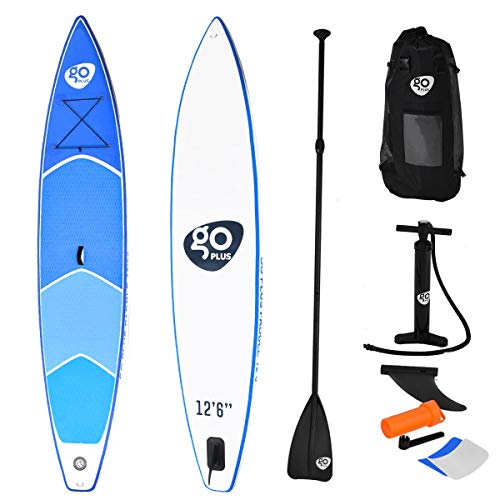 Goplus SUP Inflatable SUP Stand Up Paddle Board for Professional Racing 6 Thickness iSUP w Removable Single Fin, Adjustable Paddle, Pump Kit and Backpack