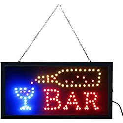 "e-onsale Ultra Bright Open Bar Led Neon Business Motion Light Sign. On/off with Chain 19""x10""x1"" BAR-02"