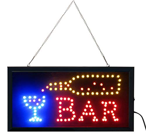"""e-onsale Ultra Bright Open Bar Led Neon Business Motion Light Sign. On/off with Chain 19""""x10""""x1"""" BAR-02"""