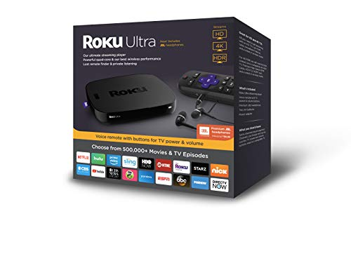 Remote Active (Roku Ultra | HD/4K/HDR Streaming Media Player Voice Remote, Remote Finder & USB. Now includes Premium JBL Headphones. (2018))