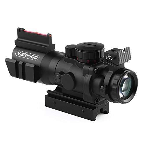 VERY100 4x32mm Illuminate Rifle Scope, Sights and Fiber red Green dot Eye Sights (21 mm/11mm)