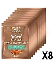 Garnier Ambre Solaire Natural Bronzeur Lingettes Bronzantes Visage & Corps 5,6 ml - Lot de 8