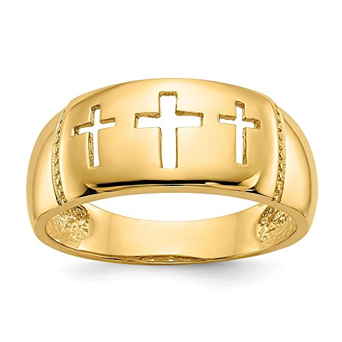 (Jewelry Adviser Rings 14k Polished & Rhodium Cut-out 3 Cross Ring)