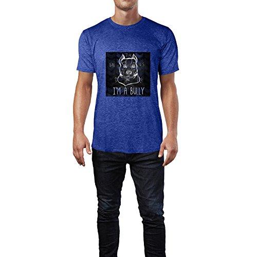 SINUS ART® Pit Bull Terrier mit lustigem Slogan I`m A Bully Herren T-Shirts in Vintage Blau Cooles Fun Shirt mit tollen Aufdruck