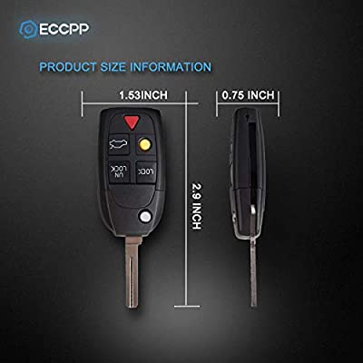 ECCPP Replacement fit for Uncut Keyless Entry Remote Control Car Key Fob Shell Case Volvo S40 S60 S80 V70 XC70 XC90 C70 S90 V90 LQNP2T-APU (Pack of 1): Automotive