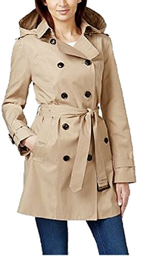 Michael Khors Women's Double-Breasted Hooded Khaki Trench Coat - - Michael Khor