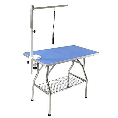 Flying Pig 44''x24'' Large Heavy Duty Stainless Steel Frame Foldable Pet Grooming Table, Blue