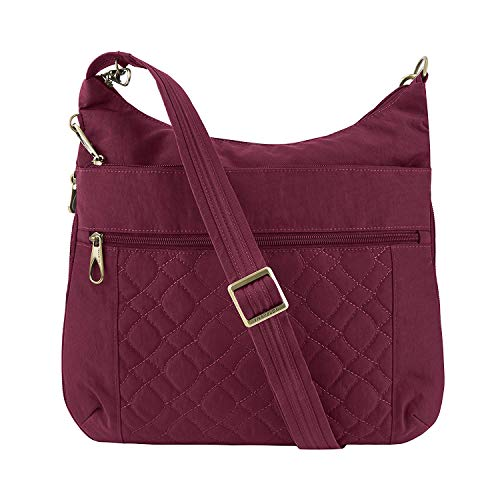Travelon: Anti-Theft Signature Nylon Quilted Expansion Crossbody Bag - Ruby