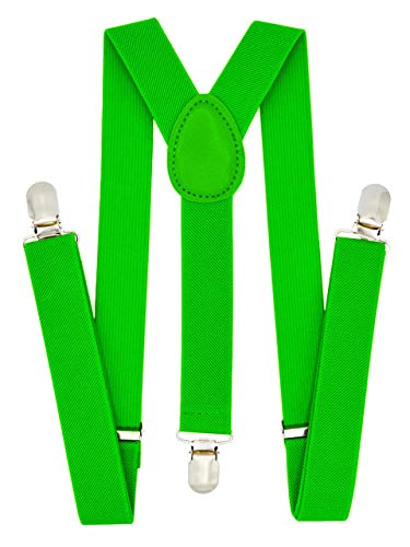 Trilece Kids Boys Suspenders - Girls Toddler Baby - Adjustable Elastic Y Back and Strong Clips - Various Solid Colors (Light Green) -