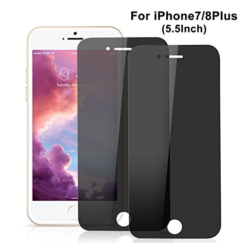 Price comparison product image IPhone 7 Plus/ 8 Plus Privacy Screen Protector, Amoner Iphone 8 Plus Privacy Screen Protector Anti-spy Tempered glass [Anti-Scratch] [Easy Installation] Protector for iPhone 7 / 8 Plus (2 Pack, Black)