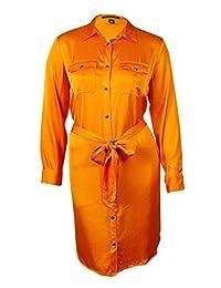 Lauren Ralph Lauren Womens Plus Sateen Button-Front Shirtdress Orange 16W