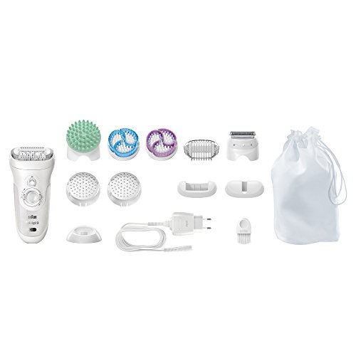 Silk Professional (Braun Silk-épil 9 9-961V Women's Epilator, Electric Hair Removal, with 2 Exfoliation Brushes & Skin Care System (Packaging May Vary))