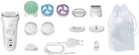 Braun Silk-épil 9 9-961V Women's Epilator, Electric Hair Removal, with 2 Exfoliation Brushes & Skin Care System (Packaging May Vary)