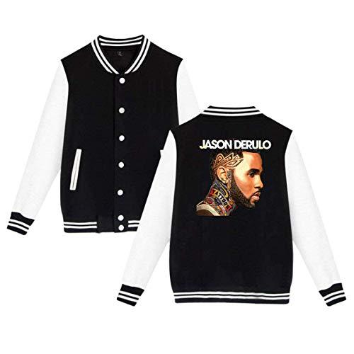 Jason Derulo Mens & Womens Vintage Hoodie Baseball Uniform Jacket Sport Coat Black (Jason Derulo Sweatshirt)