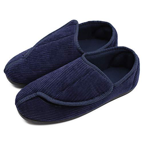 Hotme Men's Memory Foam Diabetic Slippers with Adjustable Closures,Extra Wide Width Comfy Warm Plush Fleece Arthritis Edema Swollen House Shoes Indoor/Outdoor Navy Blue