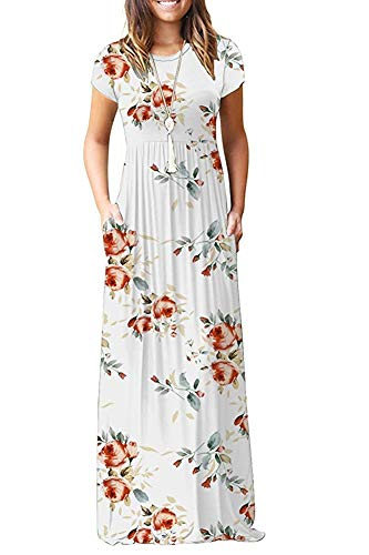 TODOLOR Women's Short Sleeve Floral Printed Dress Loose Plain Maxi Dresses Casual Long Dresses with Pockets (S, Rose White)