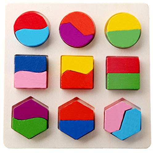 Zouvo Kids Wooden Geometric Shape Puzzles Toys Early Educational Learning Toys Pegged Puzzles from Zouvo