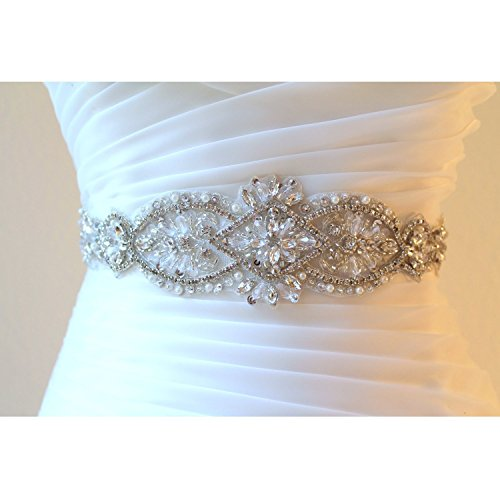ShiDianYi Crystal and Rhinestone Beaded Applique Bridal Belt Wedding Sash Applique]()