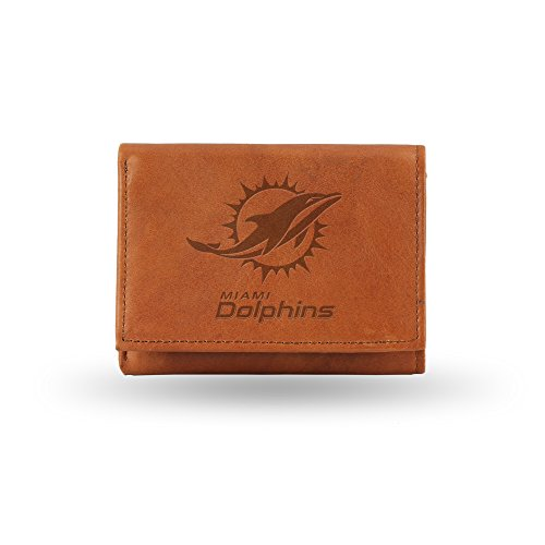 NFL Miami Dolphins Embossed Genuine Leather Trifold Wallet
