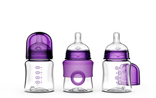 Smilo Anti-Colic Baby Bottles, Plum, 5 Ounce, 3 Count