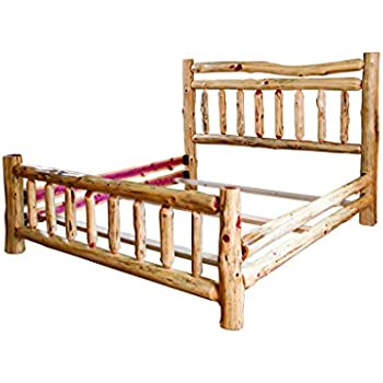 Amazon.com: Rustic Red Cedar Log Double Top Rail Bed - KING SIZE ...