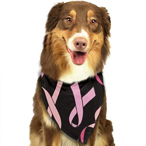 LETI LISW Dog Bandanas Breast Cancer Ribbon Printing Pet Triangle Scarf for Puppy Cat Animals