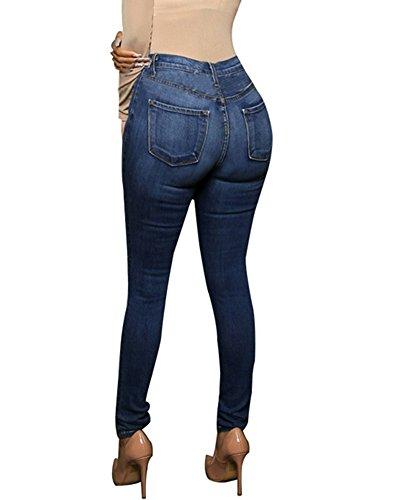Oscuro Mujeres Azul Vaqueros Pantalones Distressed Mezclilla Boyfriend Jeans Zhuikun 8awqHU7q