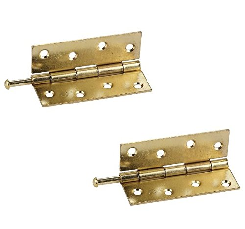 Bulk Hardware BH03837 100mm (4 inch) EB Steel Loose Pin Narrow Utility Hinges, 100 mm - Brass Plated, Pack of 2 (Plated Loose Pin Hinges)