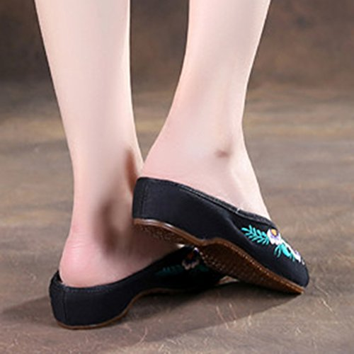 Zapatillas Slip-on De Avacostume Mujeres Floral Embroidery Flats Negras