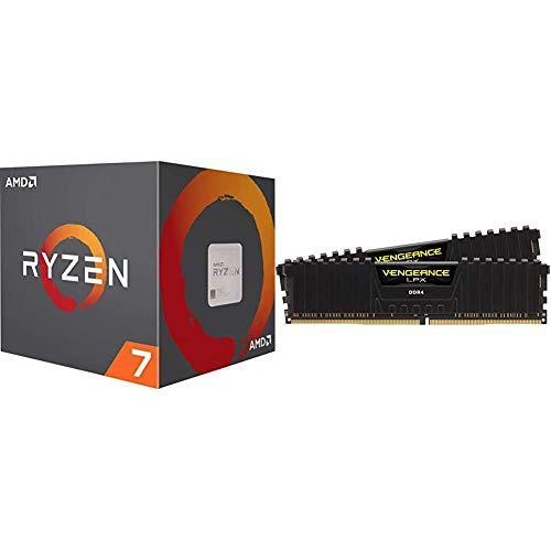 AMD Ryzen 7 3800X 8-Core, 16-Thread Unlocked Desktop Processor with Wraith Prism LED Cooler Bundle with Corsair Vengeance LPX 16GB (2x8GB) DDR4 DRAM 3200MHz C16 Desktop Memory Kit - Black