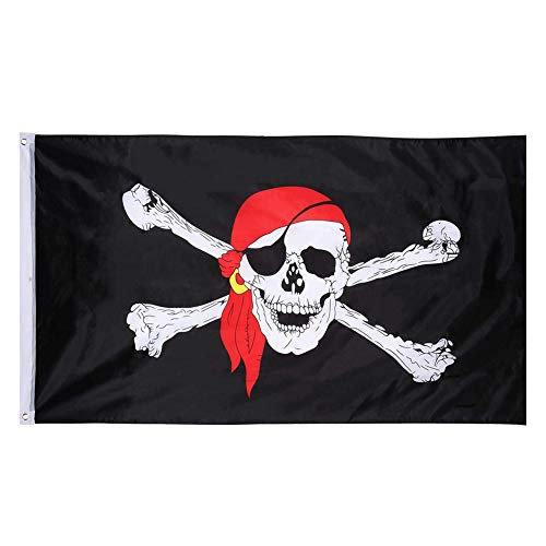 Pirate Flag- No.4 Polyester Banner Black Skull Flag Red Turban Double Knife Flag for Jolly Roger Halloween Pirate Themed Decoration (3 x 5 feet) ()