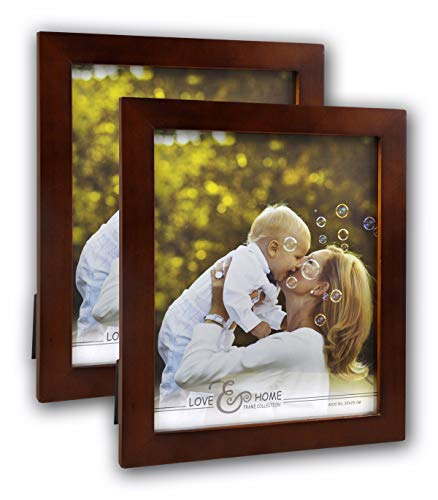 (Spiretro 2 Pack 8 x 10 inch Flat Edge Molding, Solid Wood Picture Frame with Plexiglass, Vertical and Horizontal for Tabletop by Easel or Wall Mounting Display Photo Frame, Plain Honey Brown)