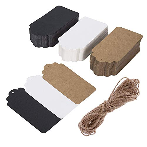 Rectangular Gift Tags with 33 ft Natural Jute Twine, 150 pcs Three Colors Black White Brown Free Editable Blank Gift Labels for Christmas Wedding Birthday Thanksgiving Gift Christmas Gift Tags Colour