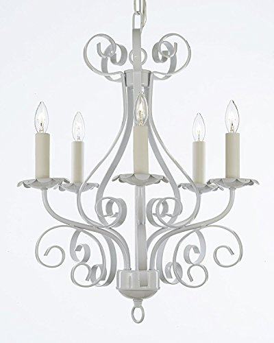 Cheap Wrought Iron Chandelier Lighting Country French White , 5 Light , , Ceiling Fixture