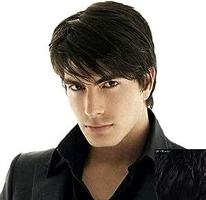 Men's short black fashion straight hair wig