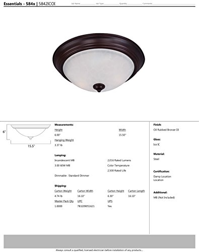 Maxim 5842ICOI Essentials 3-Light Flush Mount, Oil Rubbed Bronze Finish, Ice Glass, MB Incandescent Incandescent Bulb , 12W Max., Dry Safety Rating, 3000K Color Temp, Shade Material, 780 Rated Lumens by Maxim Lighting (Image #1)