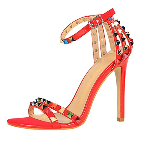 MmNote Women Thin-Heeled Sandals Buckle Strap Wedding Rivet Party Shoes Red
