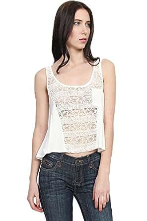 Themogan Women'S Sheer Crochet Lace Hi Low Flared Tank Top-Ivory L