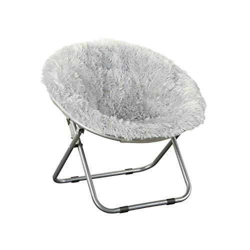 Faux-Fur Plush Kids Blair Saucer Folding Chair in Gray