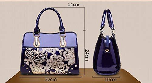 Mujeres Oscuro los Nj 10cm Del 32 24 Las Bolso De Cuero Azul Lentejuelas Bolso La Manera Hombro nYa6qAYx