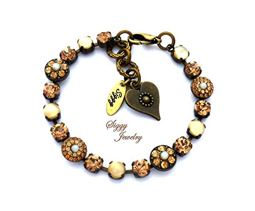 Tone Antique Finish (Swarovski® Crystal Bracelet, Warm Neutral Beige, Tan, Brown Earth Tones, Ornate Flower Embellishments, Antique Brass Finish, Gift Packaged)