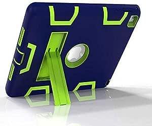 تصميم لطيف لأبل آيباد 2/3/4 9.7 بوصة طباعة ضد الأصابع قشرة واقية مختلطة / جلد صلب مقاوم للصدمات مع مسند خلفي (أزرق وأخضر) [dpl]
